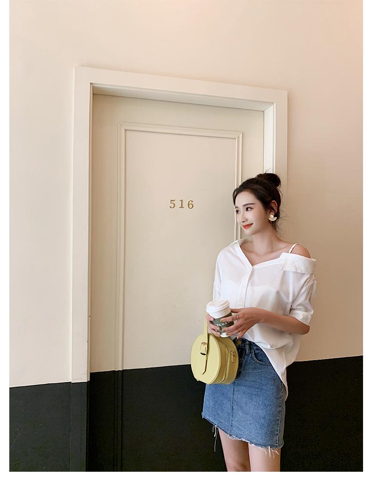 韓国 ファッション トップス ブラウス シャツ 春 夏 秋 カジュアル PTXH959  ワンショルダー アシンメトリー 肩見せ ラフ オルチャン シンプル 定番 セレカジの写真18枚目