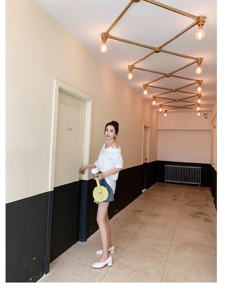 韓国 ファッション トップス ブラウス シャツ 春 夏 秋 カジュアル PTXH959  ワンショルダー アシンメトリー 肩見せ ラフ オルチャン シンプル 定番 セレカジの写真19枚目