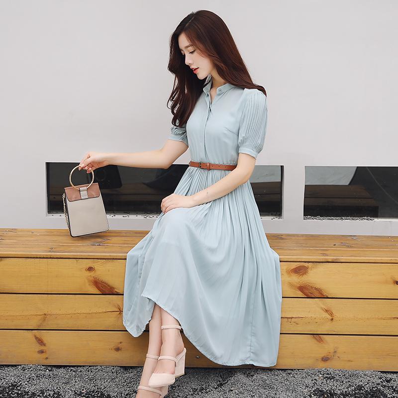 韓国 ファッション ワンピース 春 夏 秋 カジュアル PTXH961  シアー ペールカラー ソフトプリーツ Aライン オルチャン シンプル 定番 セレカジの写真3枚目