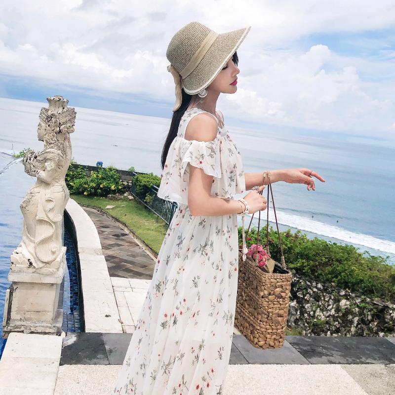 韓国 ファッション ワンピース 春 夏 カジュアル PTXH962  オフショルダー風 フレアトップ シアー 小花 オルチャン シンプル 定番 セレカジの写真3枚目