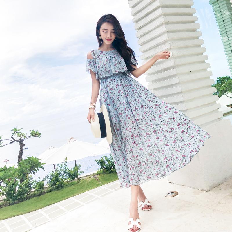 韓国 ファッション ワンピース 春 夏 カジュアル PTXH962  オフショルダー風 フレアトップ シアー 小花 オルチャン シンプル 定番 セレカジの写真4枚目