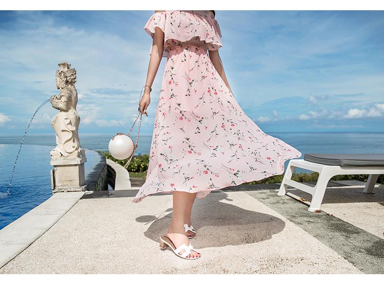 韓国 ファッション ワンピース 春 夏 カジュアル PTXH962  オフショルダー風 フレアトップ シアー 小花 オルチャン シンプル 定番 セレカジの写真8枚目
