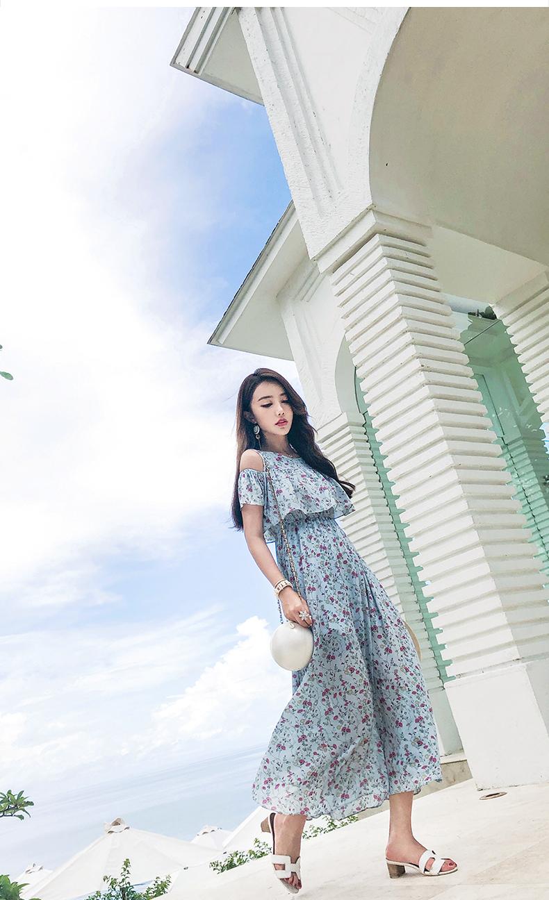 韓国 ファッション ワンピース 春 夏 カジュアル PTXH962  オフショルダー風 フレアトップ シアー 小花 オルチャン シンプル 定番 セレカジの写真11枚目