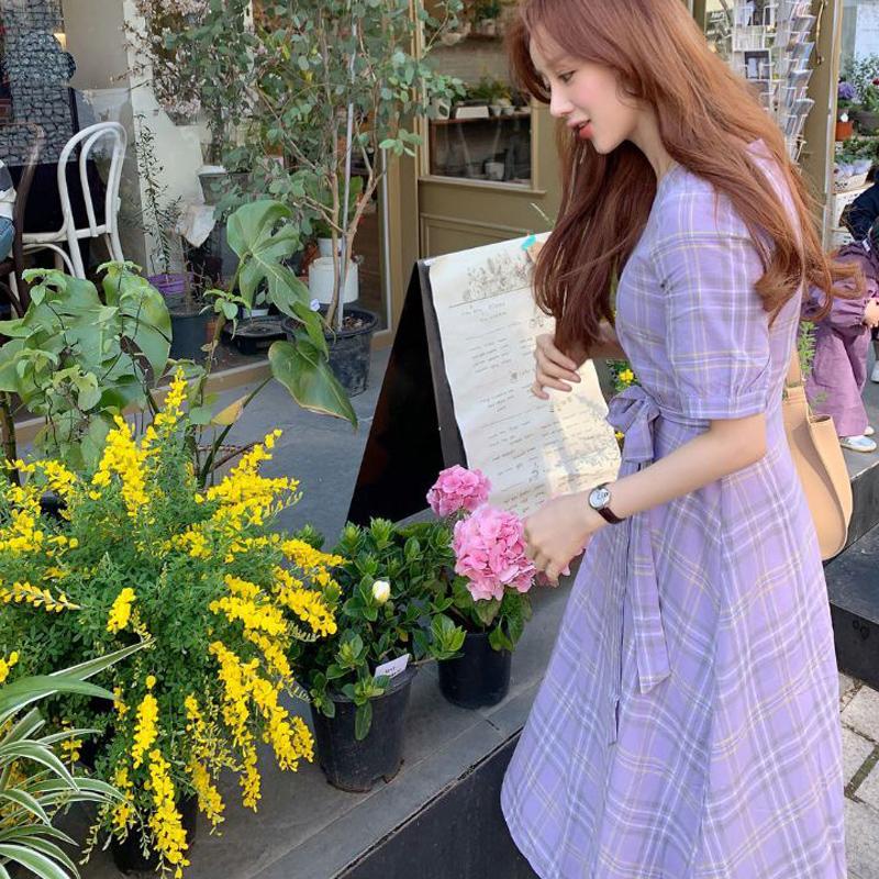 韓国 ファッション ワンピース 春 夏 秋 カジュアル PTXH965  チェック Vネック バックリボン フェミニン オルチャン シンプル 定番 セレカジの写真3枚目