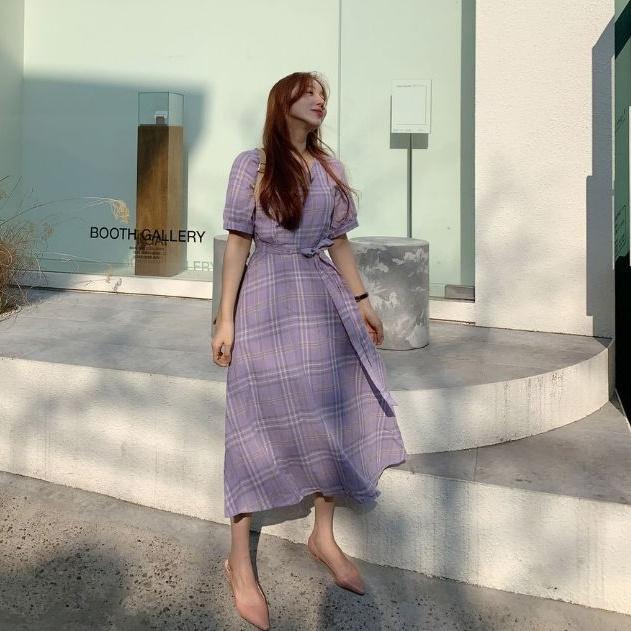 韓国 ファッション ワンピース 春 夏 秋 カジュアル PTXH965  チェック Vネック バックリボン フェミニン オルチャン シンプル 定番 セレカジの写真7枚目