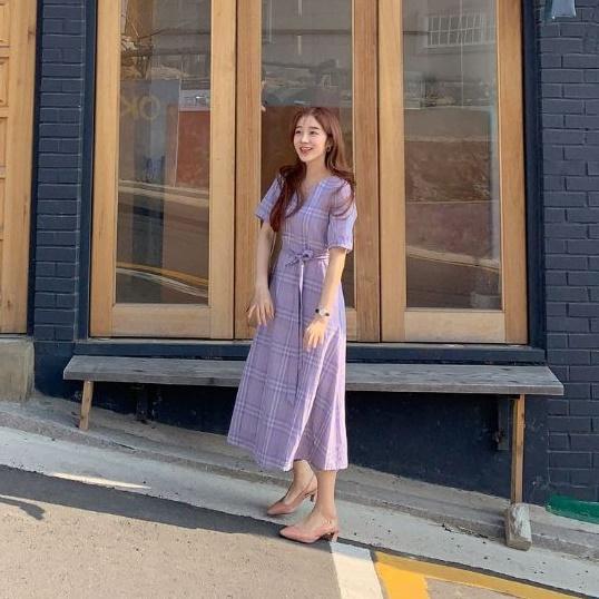 韓国 ファッション ワンピース 春 夏 秋 カジュアル PTXH965  チェック Vネック バックリボン フェミニン オルチャン シンプル 定番 セレカジの写真10枚目