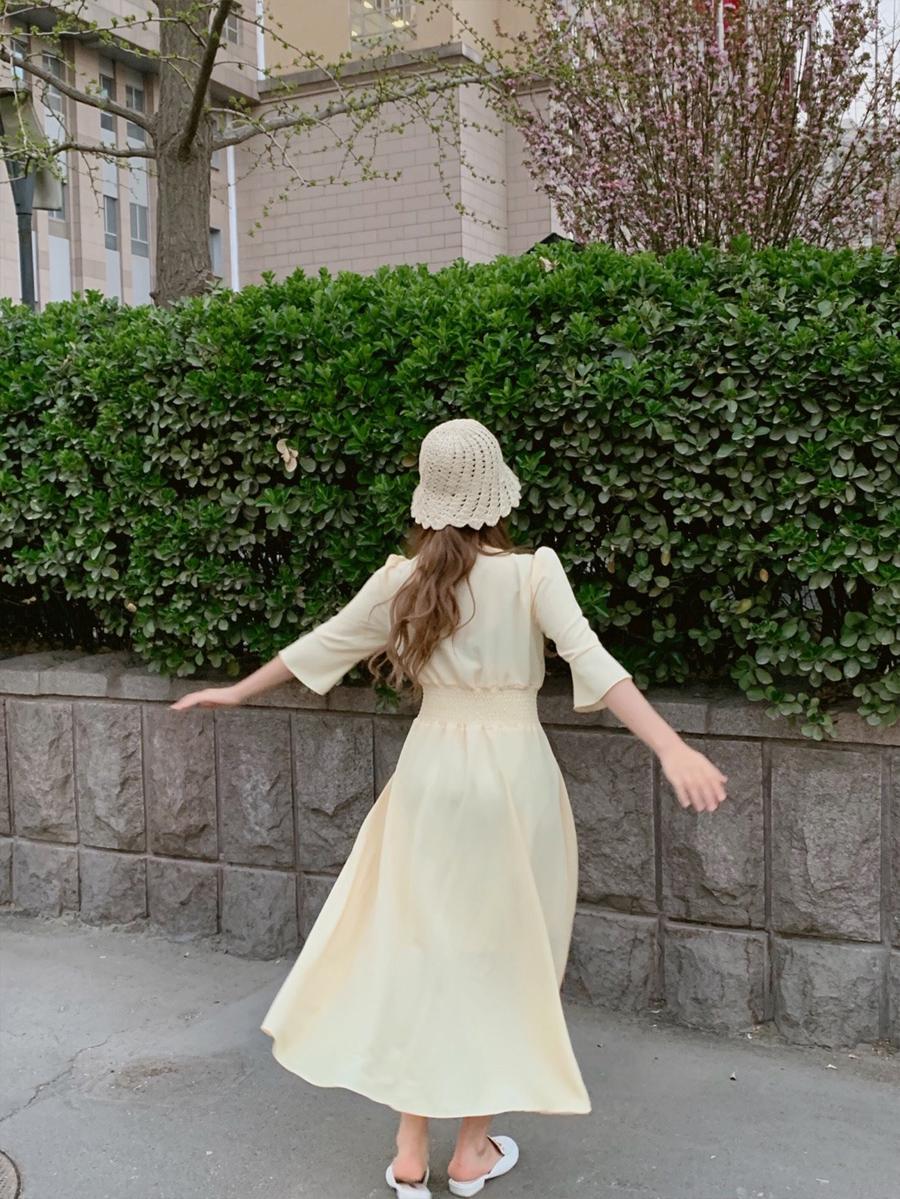 韓国 ファッション ワンピース 春 夏 秋 カジュアル PTXH966  ペールカラー シアー 五分袖 フレア エレガント オルチャン シンプル 定番 セレカジの写真7枚目