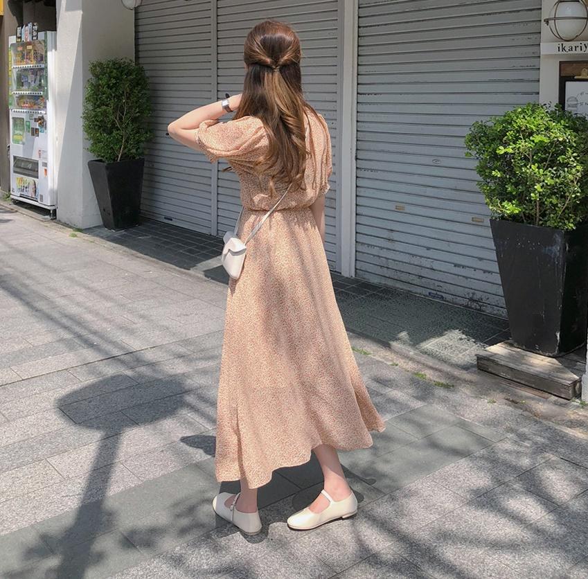韓国 ファッション ワンピース 春 夏 秋 カジュアル PTXH968  小花 シアー シフォン パフスリーブ フェミニン オルチャン シンプル 定番 セレカジの写真5枚目