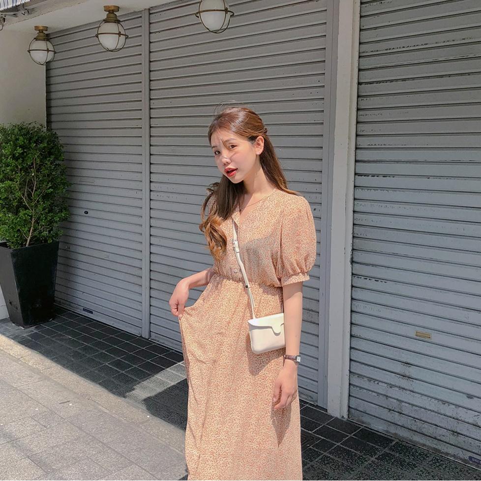韓国 ファッション ワンピース 春 夏 秋 カジュアル PTXH968  小花 シアー シフォン パフスリーブ フェミニン オルチャン シンプル 定番 セレカジの写真8枚目