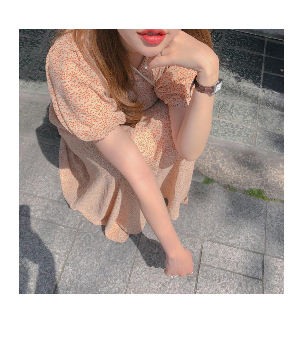韓国 ファッション ワンピース 春 夏 秋 カジュアル PTXH968  小花 シアー シフォン パフスリーブ フェミニン オルチャン シンプル 定番 セレカジの写真13枚目