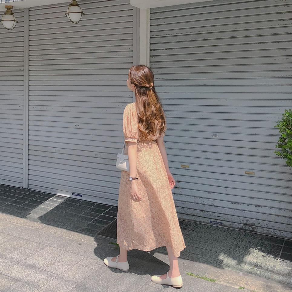 韓国 ファッション ワンピース 春 夏 秋 カジュアル PTXH968  小花 シアー シフォン パフスリーブ フェミニン オルチャン シンプル 定番 セレカジの写真19枚目