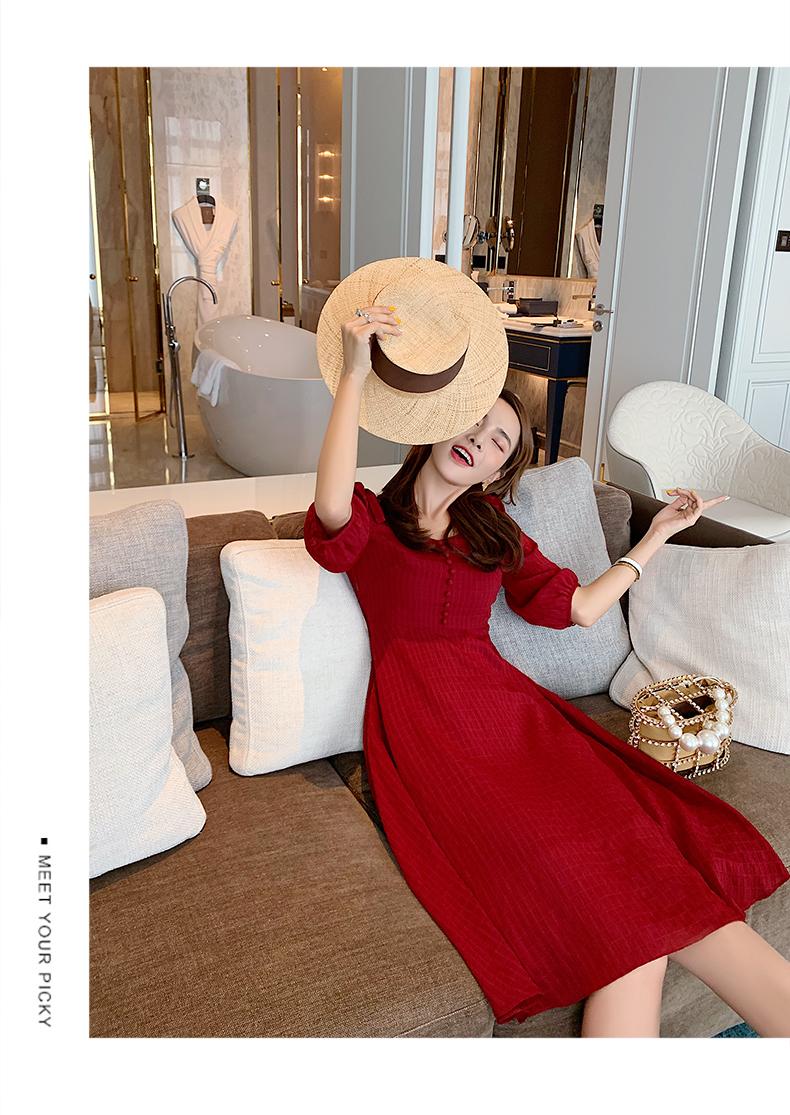 韓国 ファッション ワンピース 春 夏 秋 カジュアル PTXH978  シアー 肩コンシャス ハイウエスト シンプル オルチャン シンプル 定番 セレカジの写真12枚目