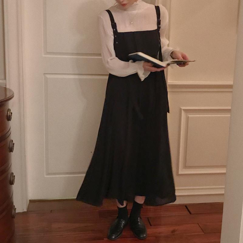 韓国 ファッション ワンピース 春 夏 秋 カジュアル PTXI015  タック ドレープ ジャンパースカート 着回し オルチャン シンプル 定番 セレカジの写真2枚目