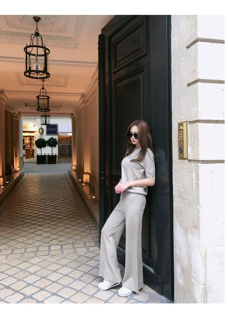 韓国 ファッション セットアップ 春 夏 秋 カジュアル PTXI116  光沢 ラフ リブニット ワイドストレートパンツ オルチャン シンプル 定番 セレカジの写真5枚目