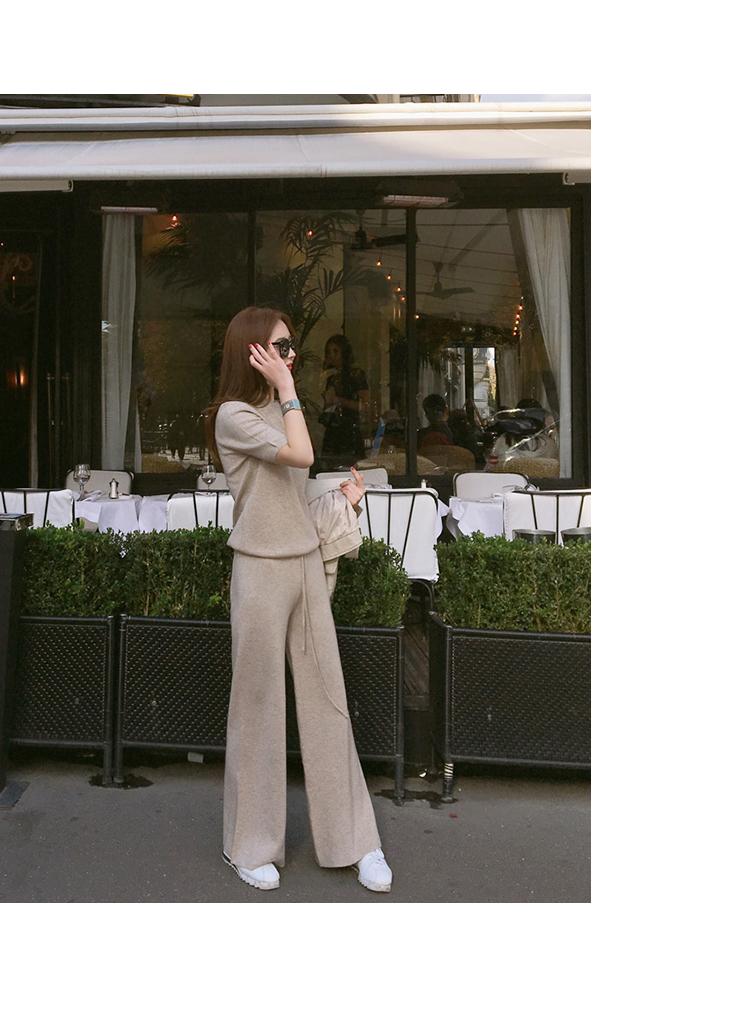 韓国 ファッション セットアップ 春 夏 秋 カジュアル PTXI116  光沢 ラフ リブニット ワイドストレートパンツ オルチャン シンプル 定番 セレカジの写真7枚目