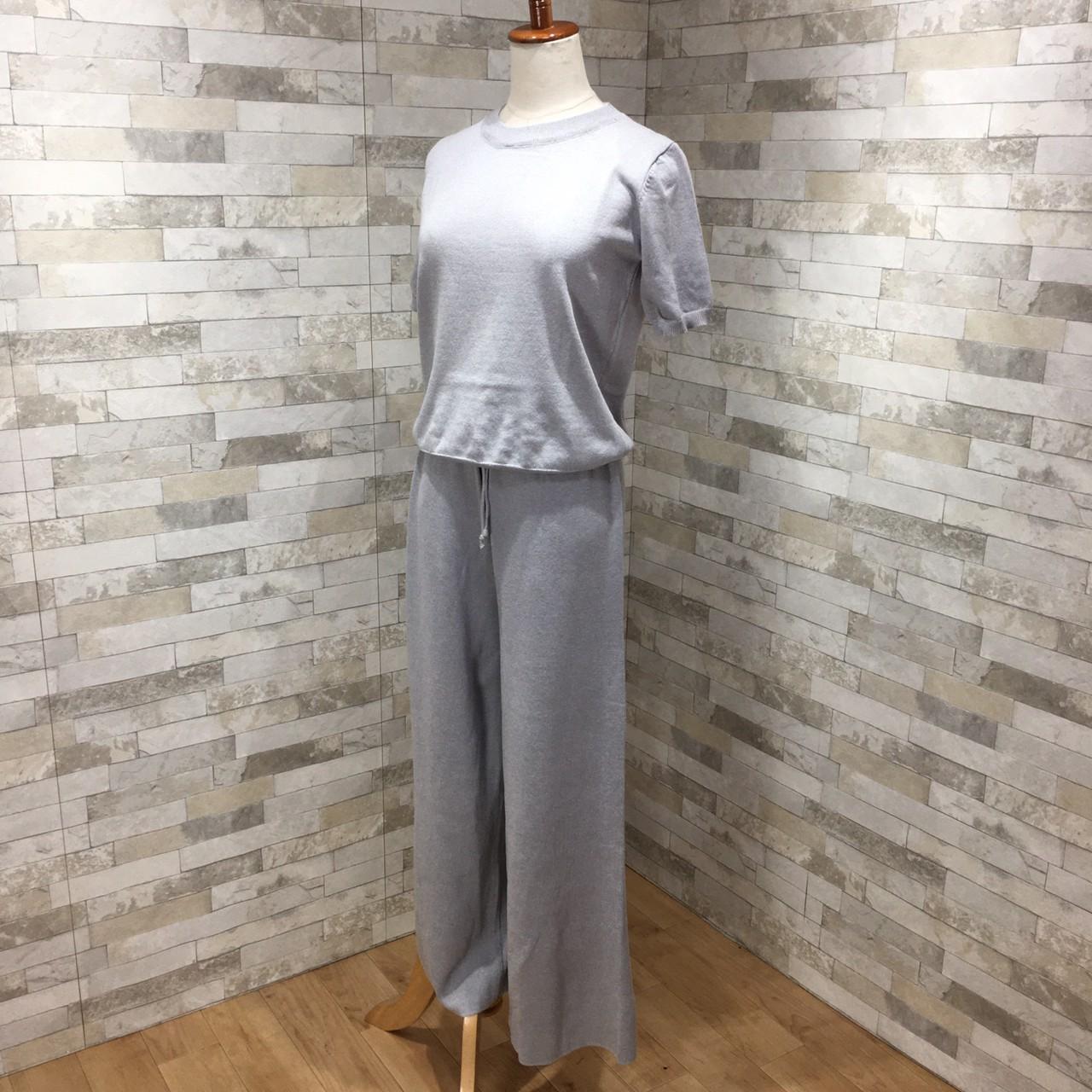 韓国 ファッション セットアップ 春 夏 秋 カジュアル PTXI116  光沢 ラフ リブニット ワイドストレートパンツ オルチャン シンプル 定番 セレカジの写真11枚目