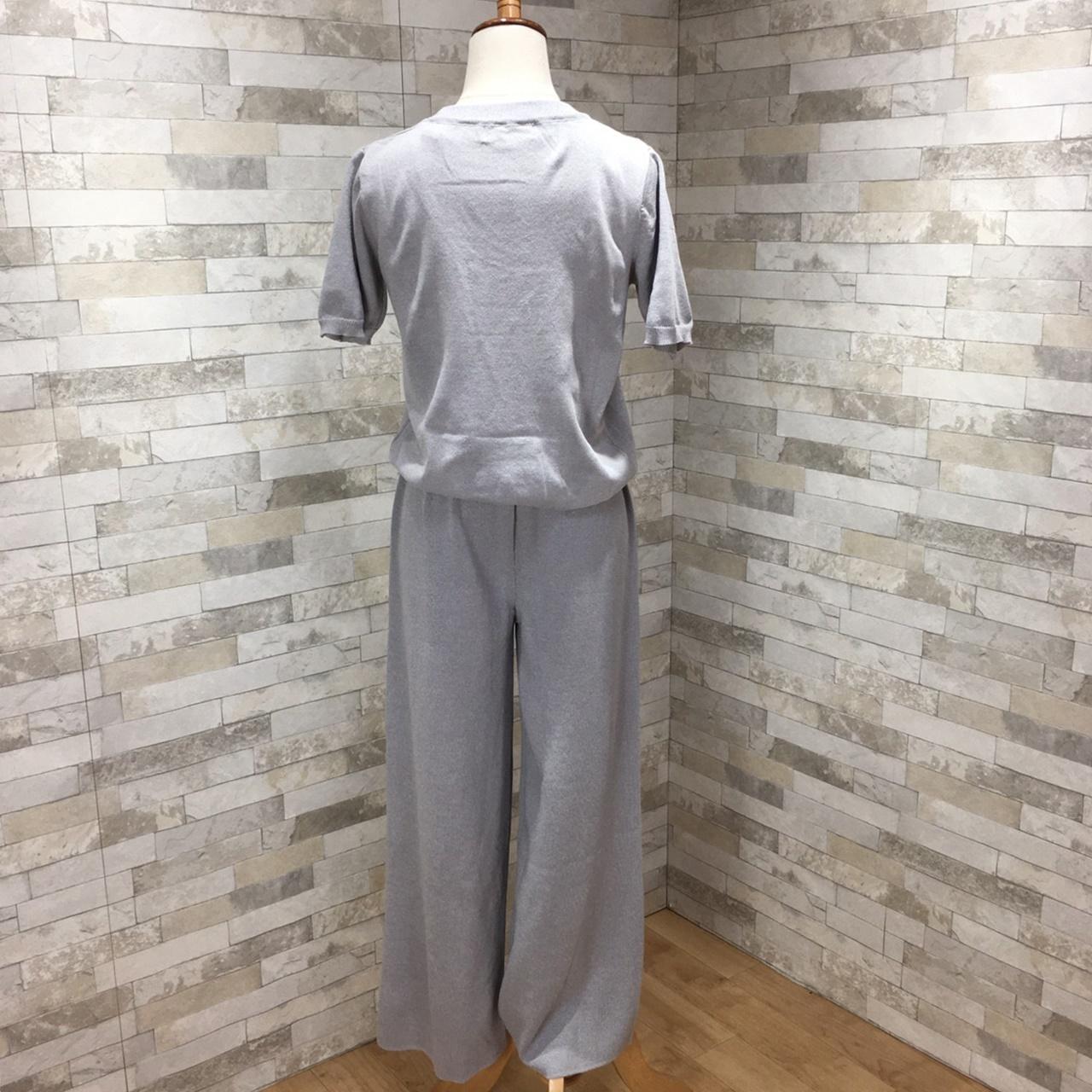 韓国 ファッション セットアップ 春 夏 秋 カジュアル PTXI116  光沢 ラフ リブニット ワイドストレートパンツ オルチャン シンプル 定番 セレカジの写真13枚目
