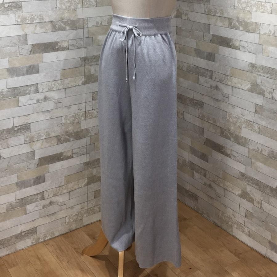 韓国 ファッション セットアップ 春 夏 秋 カジュアル PTXI116  光沢 ラフ リブニット ワイドストレートパンツ オルチャン シンプル 定番 セレカジの写真18枚目