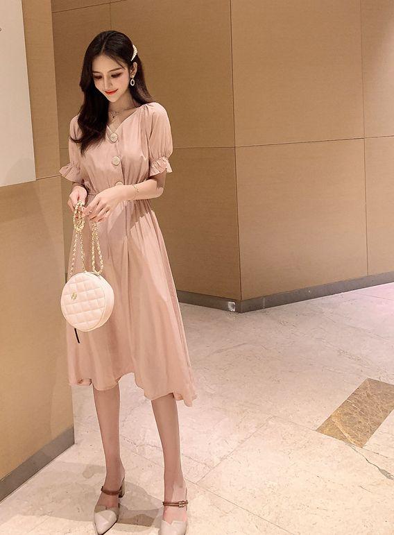 韓国 ファッション ワンピース 春 夏 秋 カジュアル PTXI120  大き目ボタン フレア ギャザー ベーシック オルチャン シンプル 定番 セレカジの写真3枚目