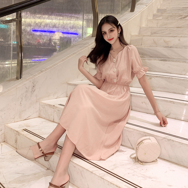 韓国 ファッション ワンピース 春 夏 秋 カジュアル PTXI120  大き目ボタン フレア ギャザー ベーシック オルチャン シンプル 定番 セレカジの写真5枚目