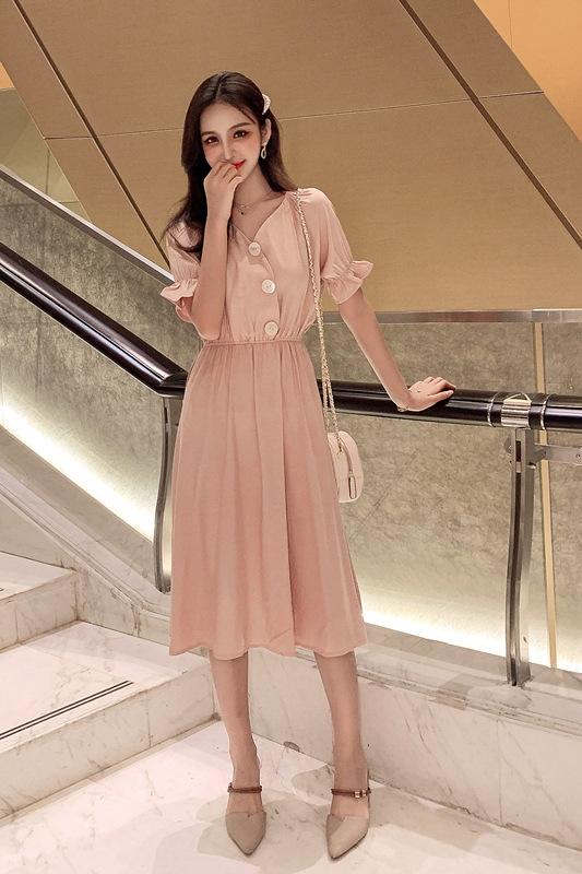 韓国 ファッション ワンピース 春 夏 秋 カジュアル PTXI120  大き目ボタン フレア ギャザー ベーシック オルチャン シンプル 定番 セレカジの写真6枚目
