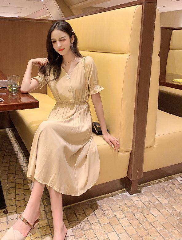 韓国 ファッション ワンピース 春 夏 秋 カジュアル PTXI120  大き目ボタン フレア ギャザー ベーシック オルチャン シンプル 定番 セレカジの写真7枚目