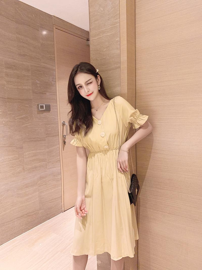 韓国 ファッション ワンピース 春 夏 秋 カジュアル PTXI120  大き目ボタン フレア ギャザー ベーシック オルチャン シンプル 定番 セレカジの写真8枚目