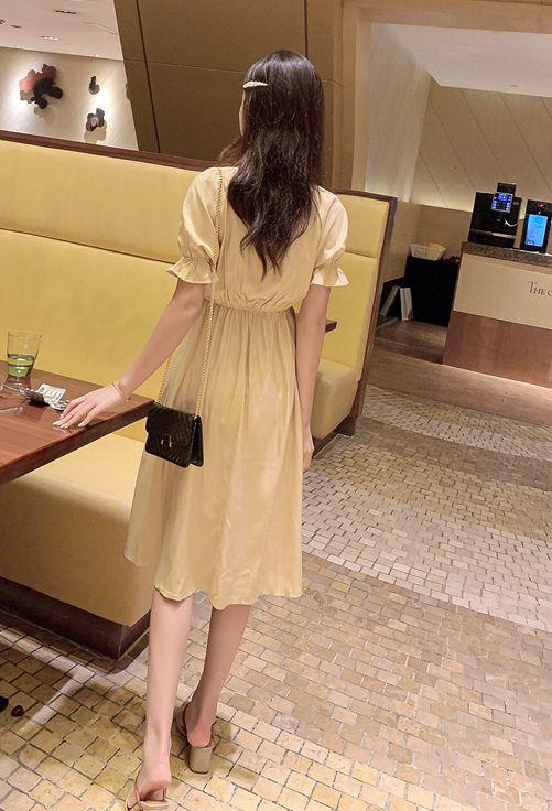 韓国 ファッション ワンピース 春 夏 秋 カジュアル PTXI120  大き目ボタン フレア ギャザー ベーシック オルチャン シンプル 定番 セレカジの写真9枚目