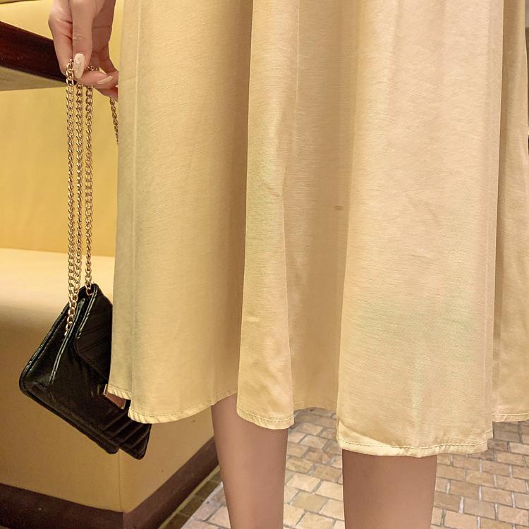 韓国 ファッション ワンピース 春 夏 秋 カジュアル PTXI120  大き目ボタン フレア ギャザー ベーシック オルチャン シンプル 定番 セレカジの写真11枚目