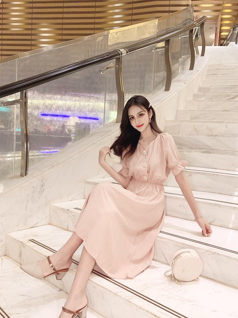 韓国 ファッション ワンピース 春 夏 秋 カジュアル PTXI120  大き目ボタン フレア ギャザー ベーシック オルチャン シンプル 定番 セレカジの写真12枚目