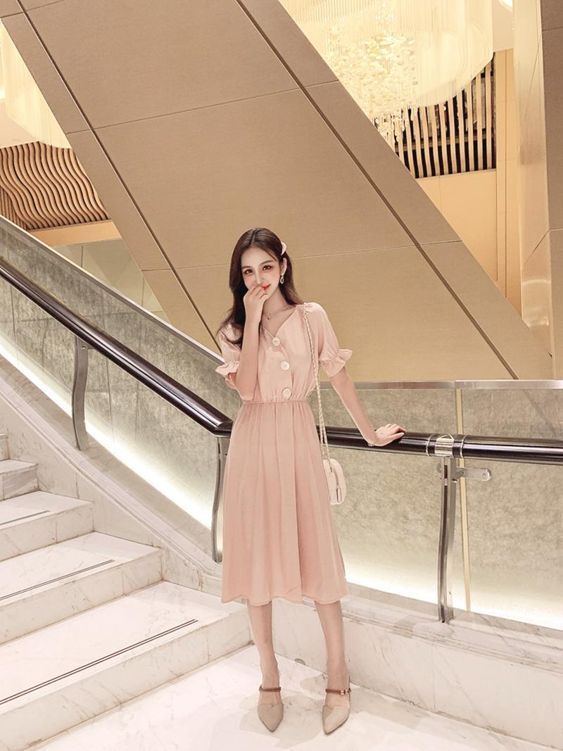 韓国 ファッション ワンピース 春 夏 秋 カジュアル PTXI120  大き目ボタン フレア ギャザー ベーシック オルチャン シンプル 定番 セレカジの写真13枚目