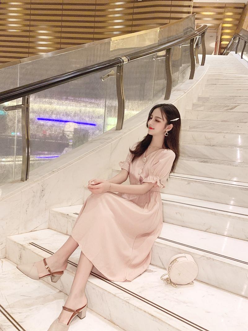 韓国 ファッション ワンピース 春 夏 秋 カジュアル PTXI120  大き目ボタン フレア ギャザー ベーシック オルチャン シンプル 定番 セレカジの写真14枚目