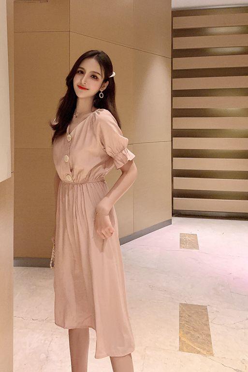 韓国 ファッション ワンピース 春 夏 秋 カジュアル PTXI120  大き目ボタン フレア ギャザー ベーシック オルチャン シンプル 定番 セレカジの写真15枚目