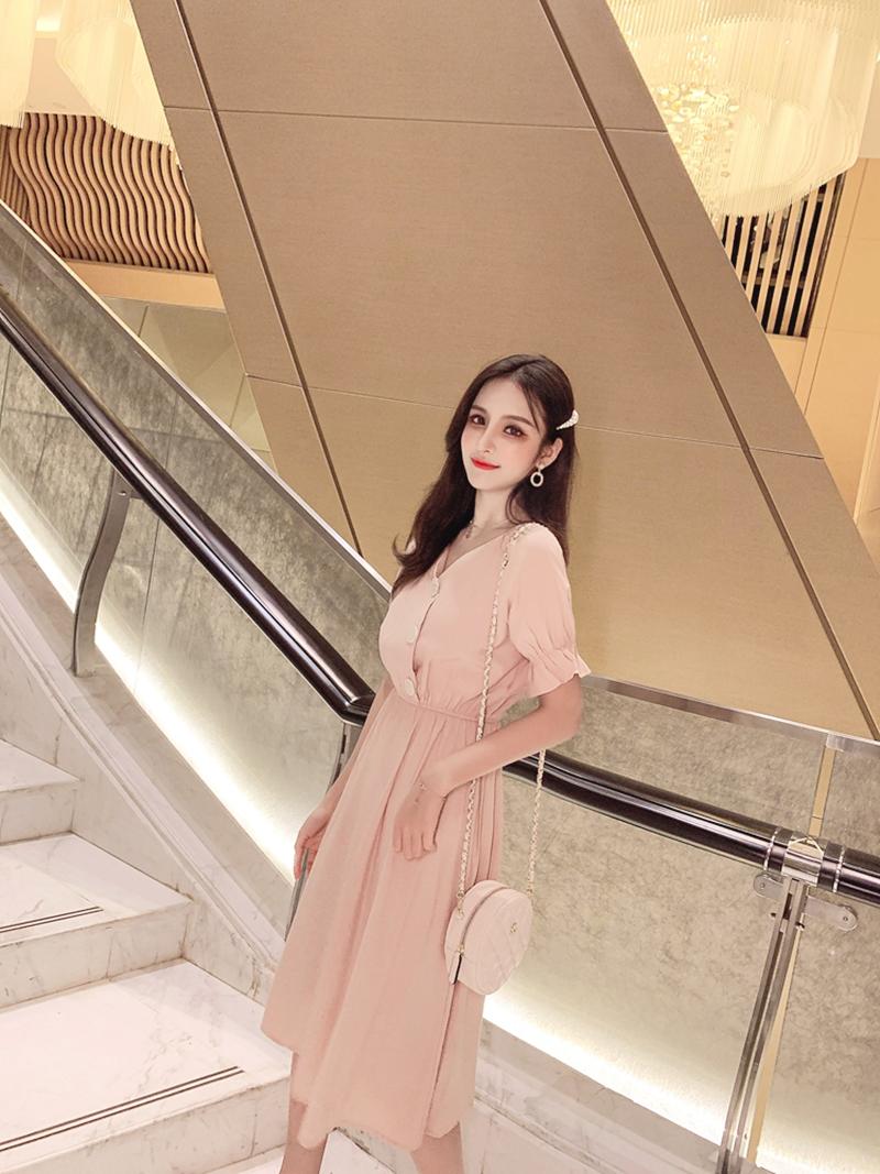 韓国 ファッション ワンピース 春 夏 秋 カジュアル PTXI120  大き目ボタン フレア ギャザー ベーシック オルチャン シンプル 定番 セレカジの写真16枚目