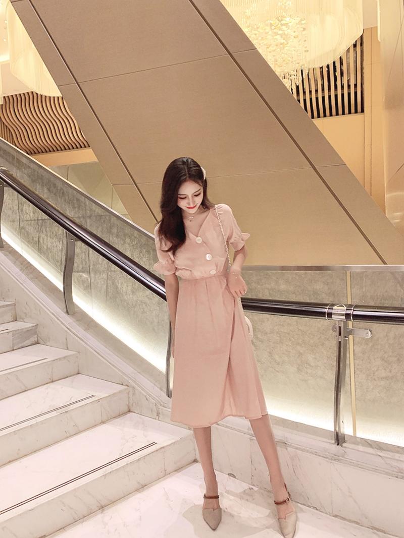 韓国 ファッション ワンピース 春 夏 秋 カジュアル PTXI120  大き目ボタン フレア ギャザー ベーシック オルチャン シンプル 定番 セレカジの写真17枚目