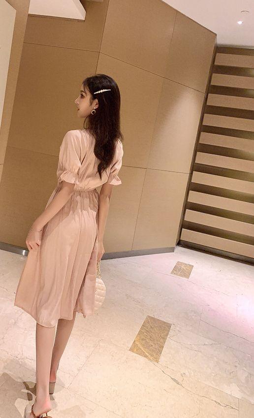 韓国 ファッション ワンピース 春 夏 秋 カジュアル PTXI120  大き目ボタン フレア ギャザー ベーシック オルチャン シンプル 定番 セレカジの写真18枚目