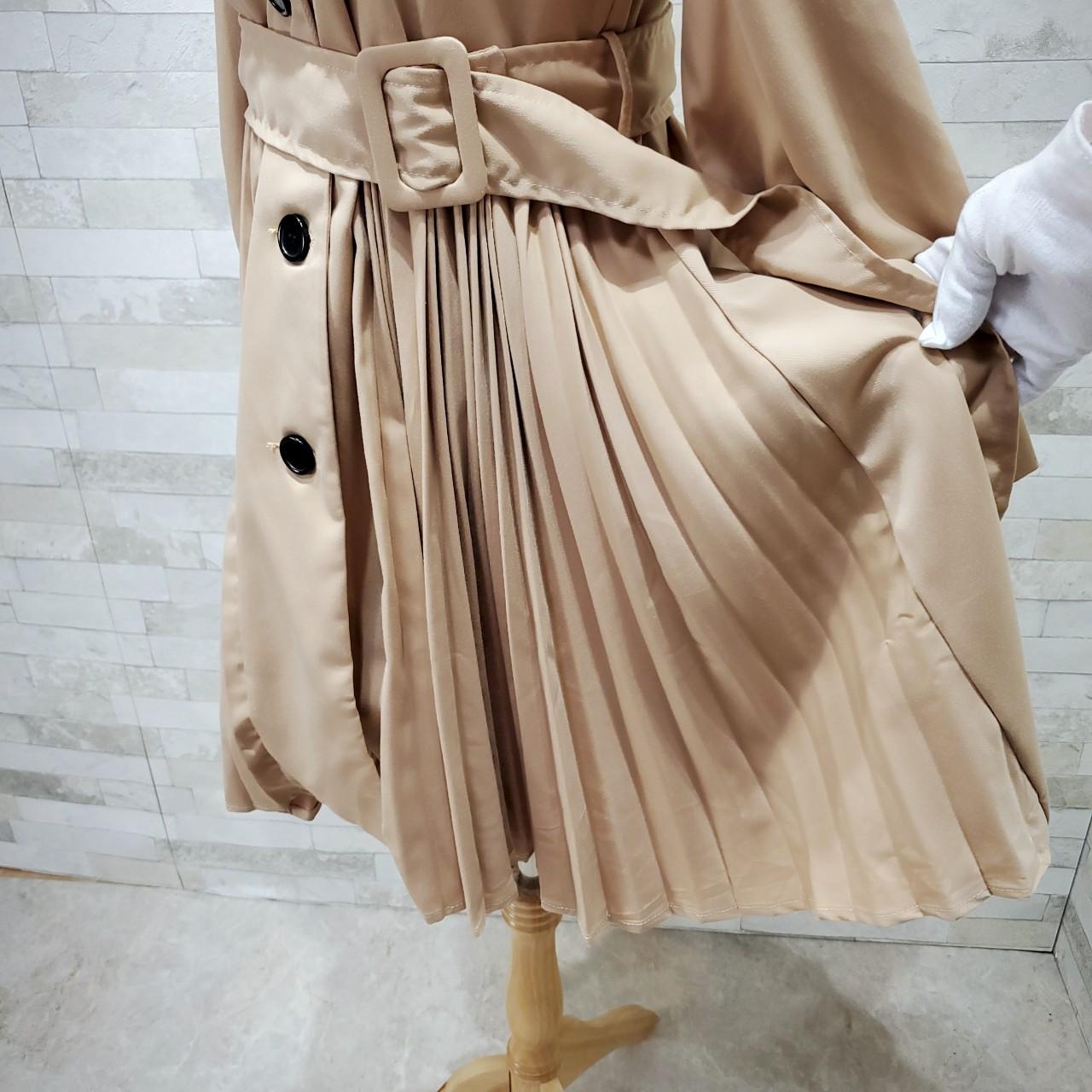 韓国 ファッション ワンピース 春 夏 秋 カジュアル PTXI130  プリーツ Aライン パフスリーブ ロングカフス オルチャン シンプル 定番 セレカジの写真14枚目