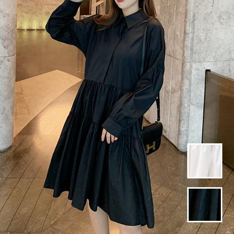 【即納】韓国 ファッション ワンピース 春 夏 秋 カジュアル SPTXI149  ティアード ドレープ ギャザー ゆったり オルチャン シンプル 定番 セレカジの写真1枚目