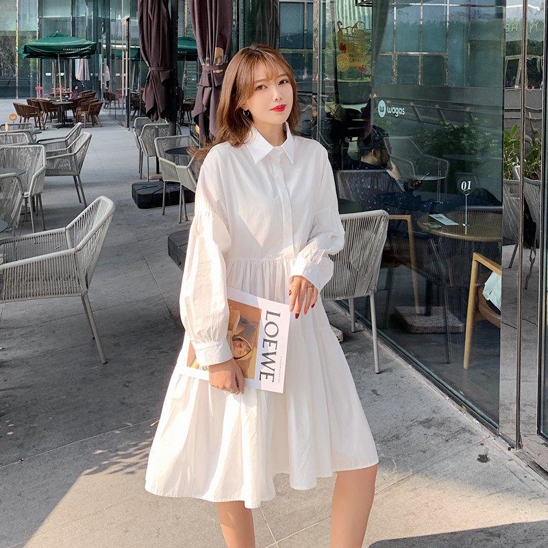 【即納】韓国 ファッション ワンピース 春 夏 秋 カジュアル SPTXI149  ティアード ドレープ ギャザー ゆったり オルチャン シンプル 定番 セレカジの写真2枚目