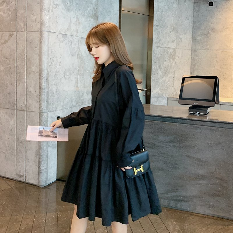 【即納】韓国 ファッション ワンピース 春 夏 秋 カジュアル SPTXI149  ティアード ドレープ ギャザー ゆったり オルチャン シンプル 定番 セレカジの写真3枚目