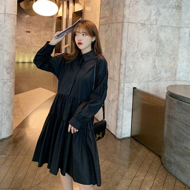 【即納】韓国 ファッション ワンピース 春 夏 秋 カジュアル SPTXI149  ティアード ドレープ ギャザー ゆったり オルチャン シンプル 定番 セレカジの写真4枚目