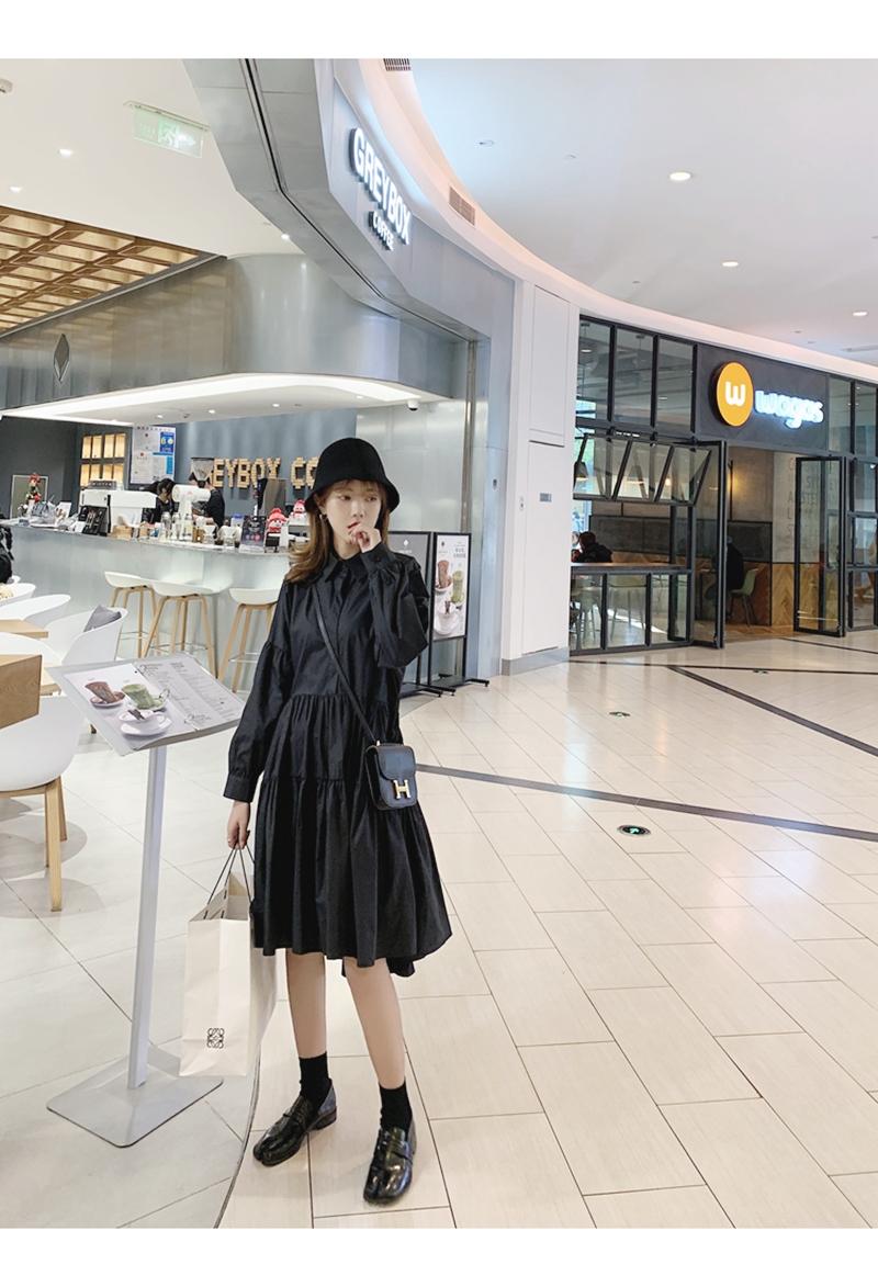 【即納】韓国 ファッション ワンピース 春 夏 秋 カジュアル SPTXI149  ティアード ドレープ ギャザー ゆったり オルチャン シンプル 定番 セレカジの写真5枚目