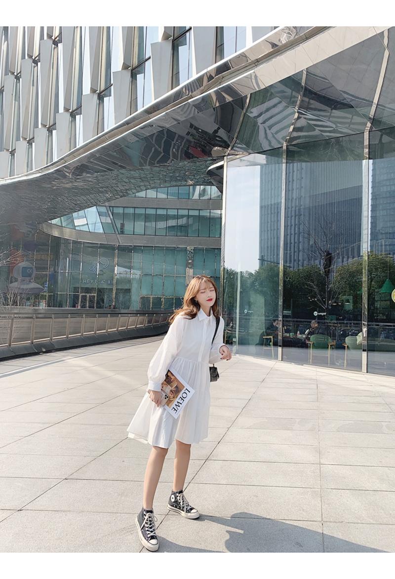 【即納】韓国 ファッション ワンピース 春 夏 秋 カジュアル SPTXI149  ティアード ドレープ ギャザー ゆったり オルチャン シンプル 定番 セレカジの写真7枚目