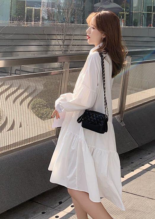 【即納】韓国 ファッション ワンピース 春 夏 秋 カジュアル SPTXI149  ティアード ドレープ ギャザー ゆったり オルチャン シンプル 定番 セレカジの写真8枚目