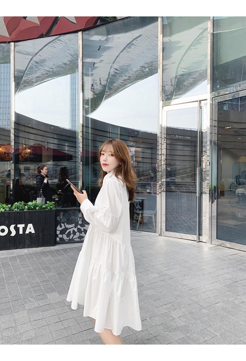 【即納】韓国 ファッション ワンピース 春 夏 秋 カジュアル SPTXI149  ティアード ドレープ ギャザー ゆったり オルチャン シンプル 定番 セレカジの写真9枚目