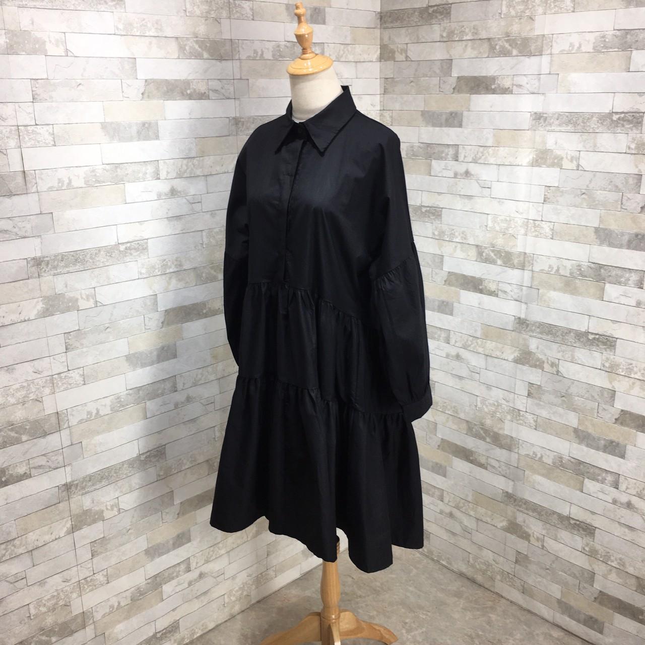 【即納】韓国 ファッション ワンピース 春 夏 秋 カジュアル SPTXI149  ティアード ドレープ ギャザー ゆったり オルチャン シンプル 定番 セレカジの写真11枚目