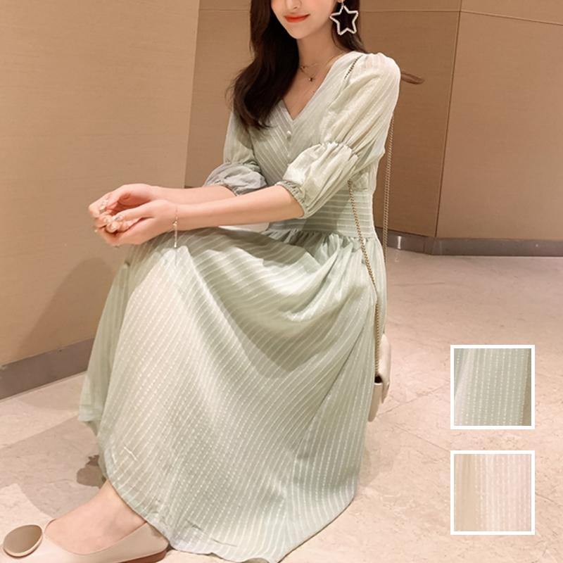 韓国 ファッション ワンピース 春 夏 秋 カジュアル PTXI162  シアー シフォン パフスリーブ フェミニン オルチャン シンプル 定番 セレカジの写真1枚目