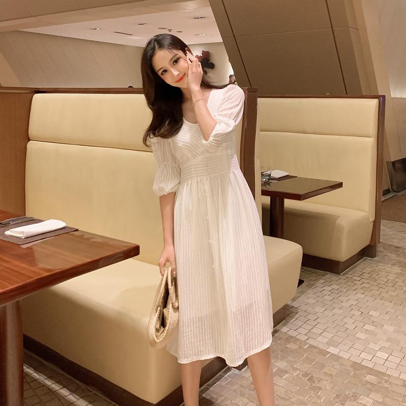 韓国 ファッション ワンピース 春 夏 秋 カジュアル PTXI162  シアー シフォン パフスリーブ フェミニン オルチャン シンプル 定番 セレカジの写真4枚目