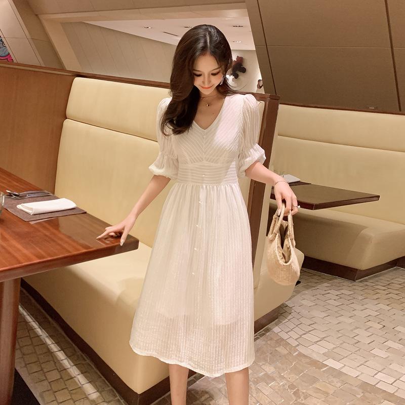 韓国 ファッション ワンピース 春 夏 秋 カジュアル PTXI162  シアー シフォン パフスリーブ フェミニン オルチャン シンプル 定番 セレカジの写真5枚目