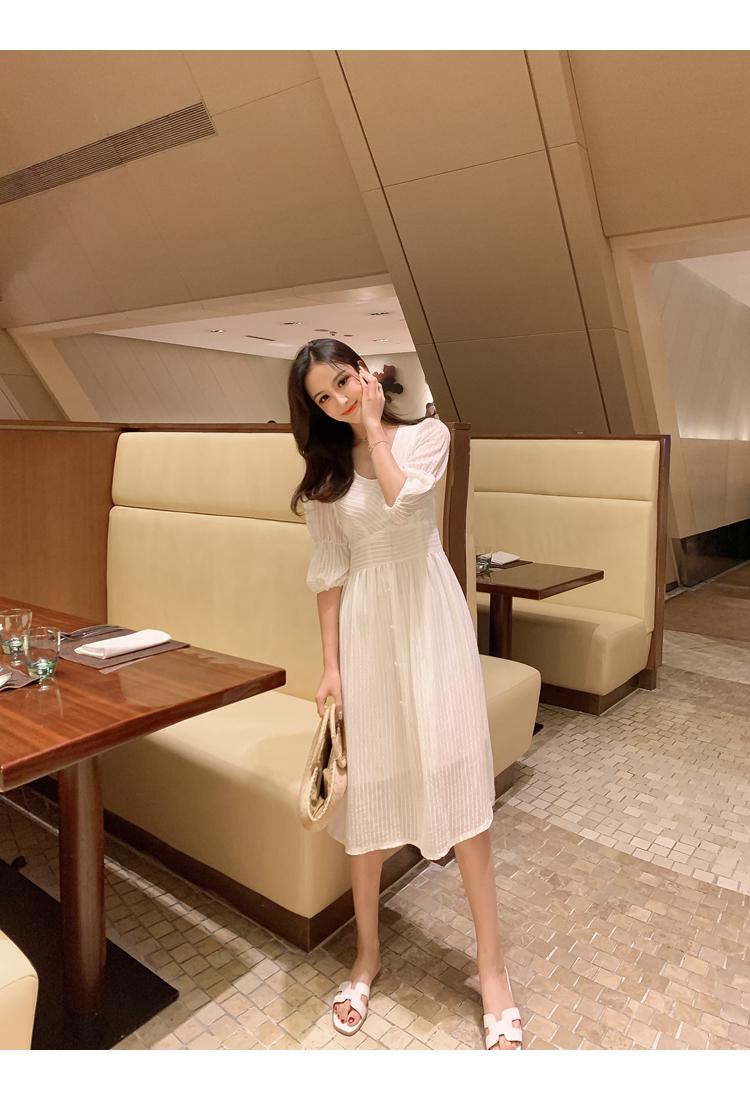 韓国 ファッション ワンピース 春 夏 秋 カジュアル PTXI162  シアー シフォン パフスリーブ フェミニン オルチャン シンプル 定番 セレカジの写真10枚目